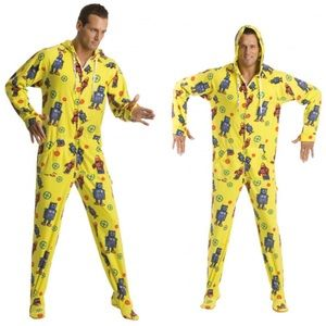 Retro Robots Adult Footed Onesie Pajamas